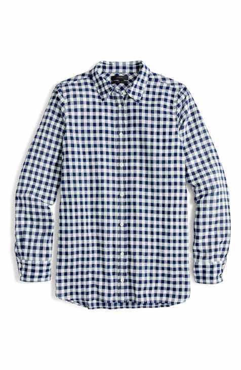 974328c256d50 J.Crew Crinkle Gingham Boy Shirt (Regular   Petite)
