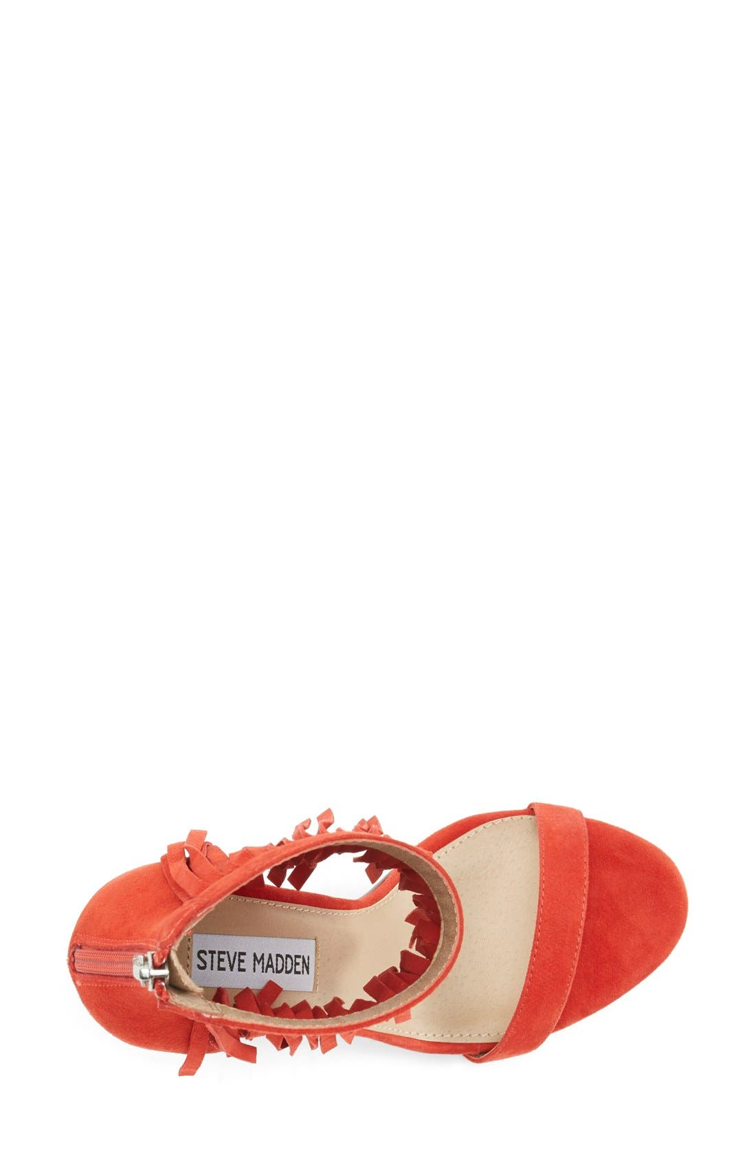 'Staarz' Ankle Fringe Sandal,                             Alternate thumbnail 3, color,                             Coral Suede