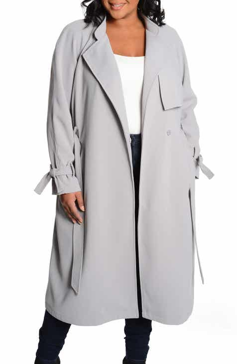 944477f0d55 RACHEL Rachel Roy Luxe Crepe Trench Coat (Plus Size)