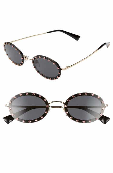 61fd34eae5ff Valentino 51mm Crystal Rockstud Oval Sunglasses