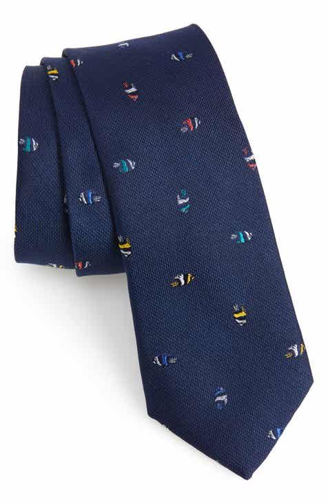 1901 Fish Print Silk Tie