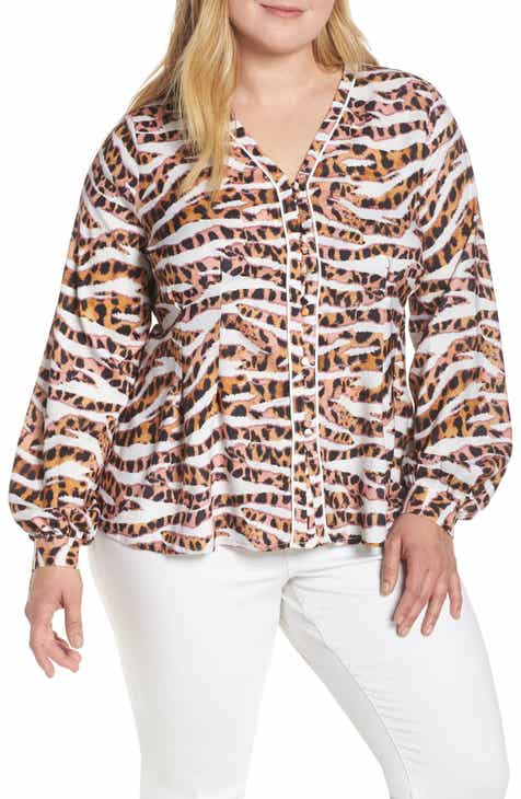 6fcf5e12093a LOST INK Leopard Print Button Front Shirt (Plus Size)
