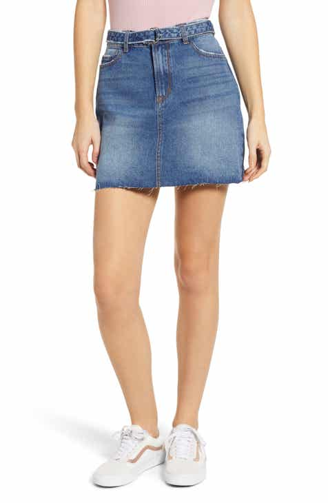 Good American Frayed Hem Denim Miniskirt (Regular & Plus Size) by GOOD AMERICAN