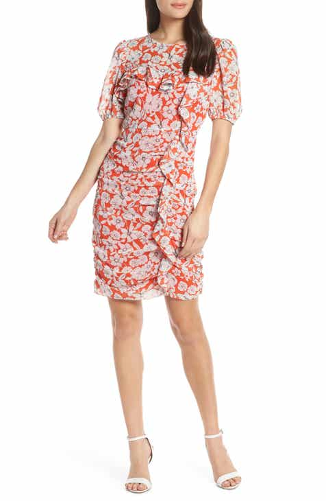 Chelsea28 Floral Print Ruched Sheath Dress (Regular & Petite) by CHELSEA28