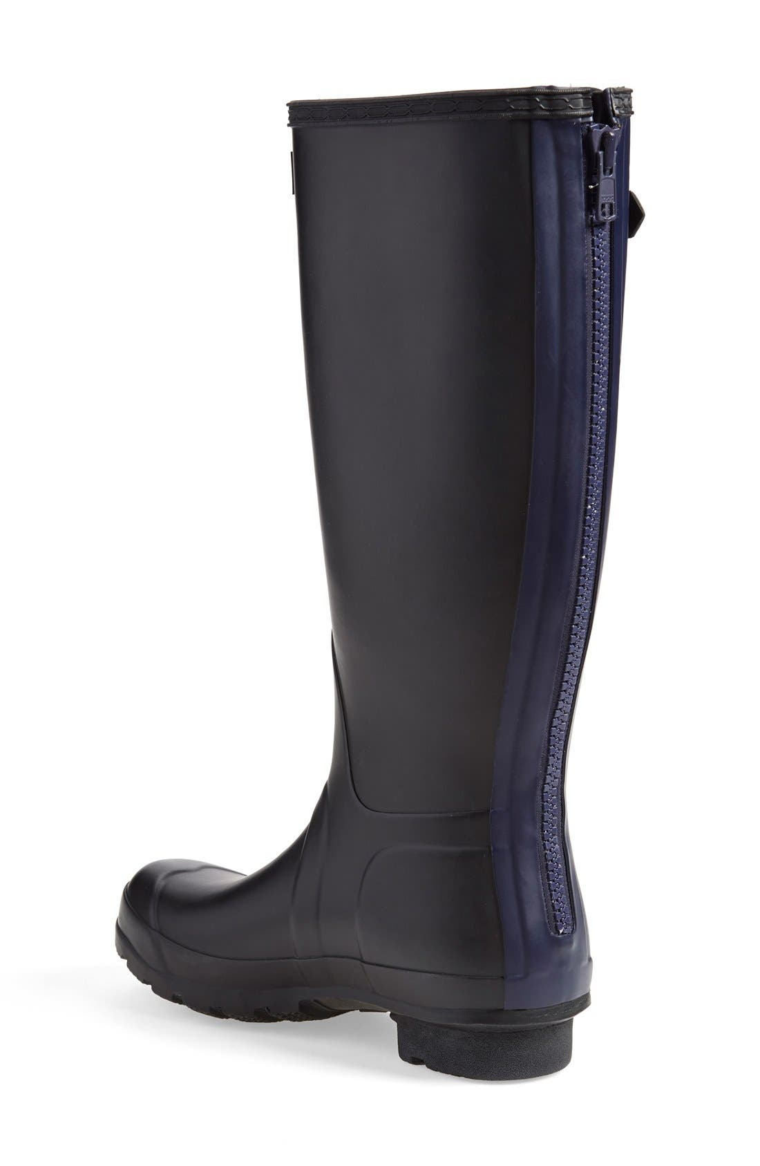 'Tall' Back Zip Rain Boot,                             Alternate thumbnail 2, color,                             Black/ Midnight