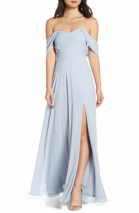 8575514e03bb Sequin Hearts Off the Shoulder Georgette Evening Dress