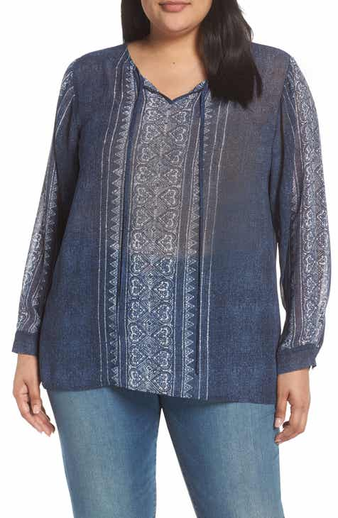 5d56567a Vince Camuto Woodblock Chiffon Peasant Top (Plus Size)
