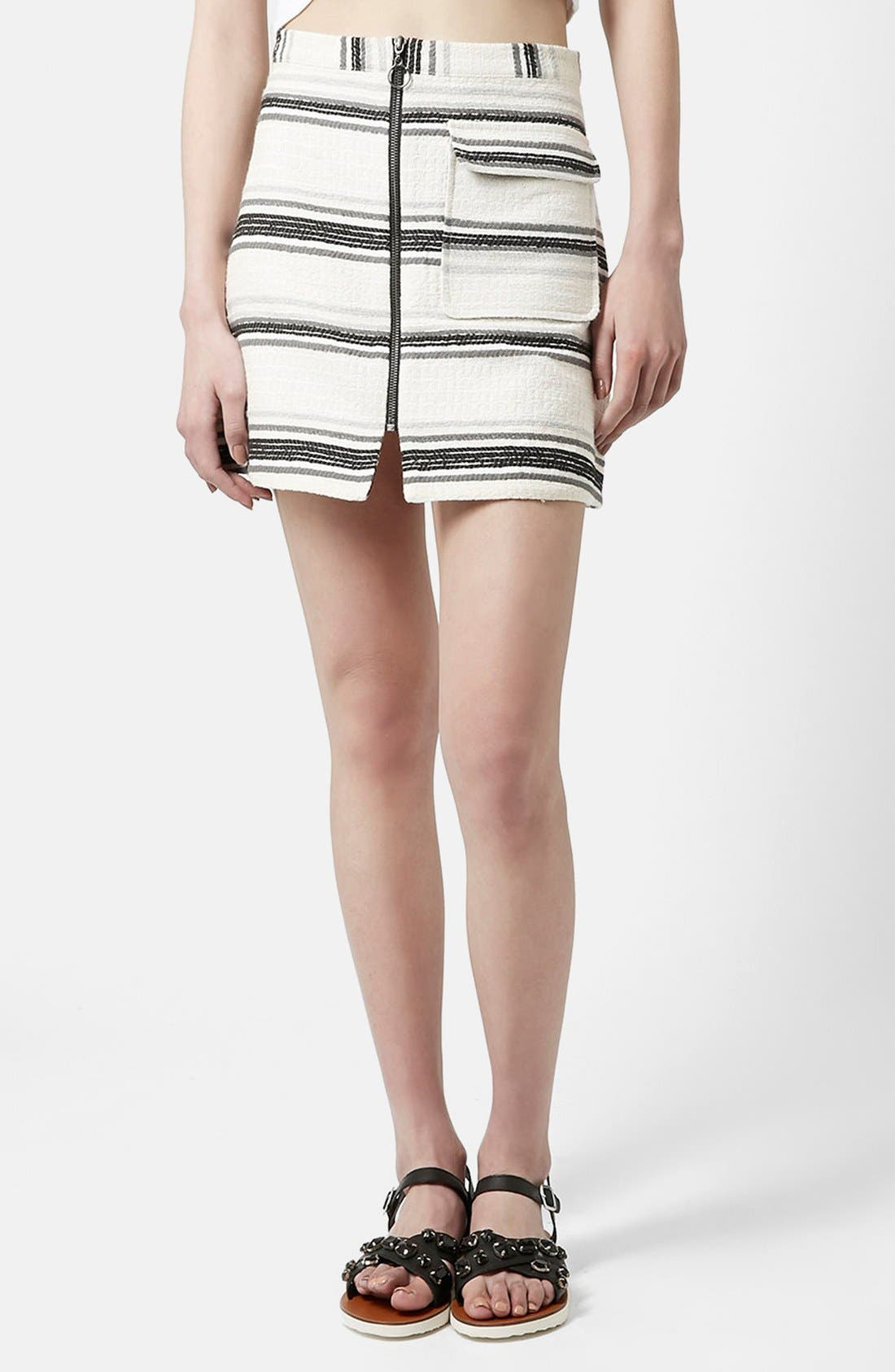 Alternate Image 1 Selected - Topshop Zip Through A-Line Skirt (Petite)