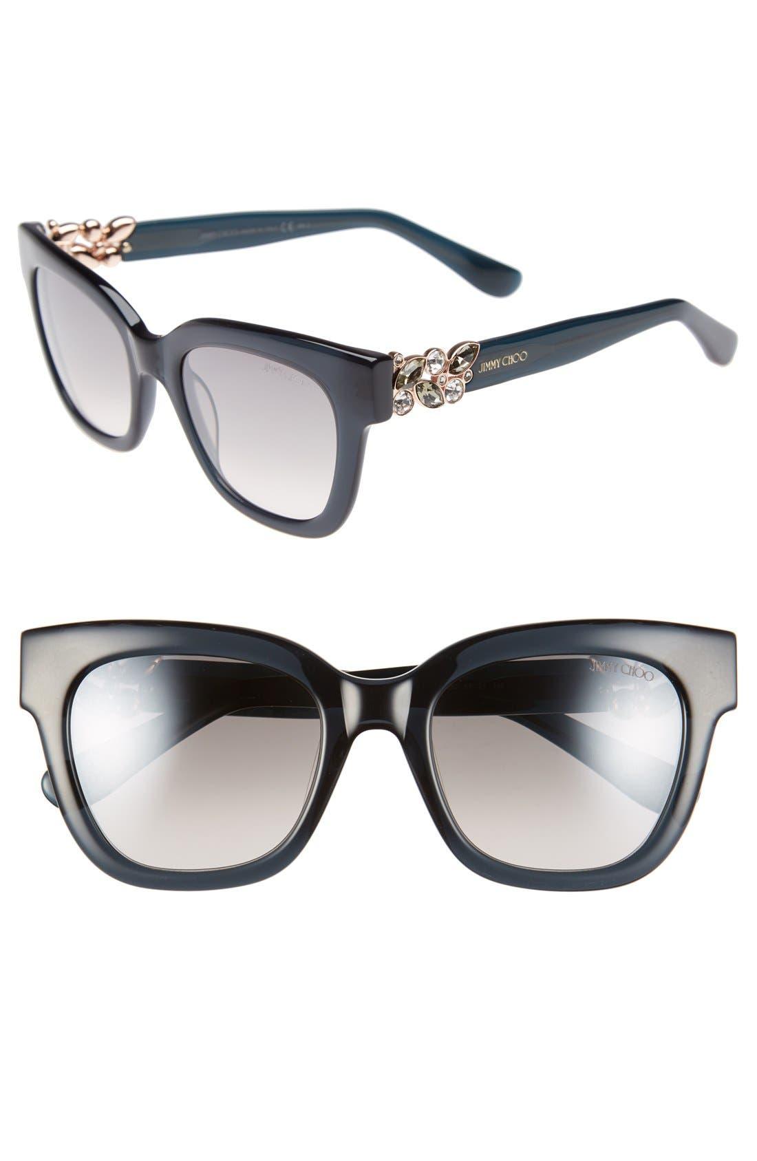 'Maggi' 51mm Crystal Embellished Sunglasses,                         Main,                         color, Dark Grey