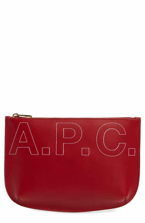 A.P.C. Sarah Logo Leather Pouch