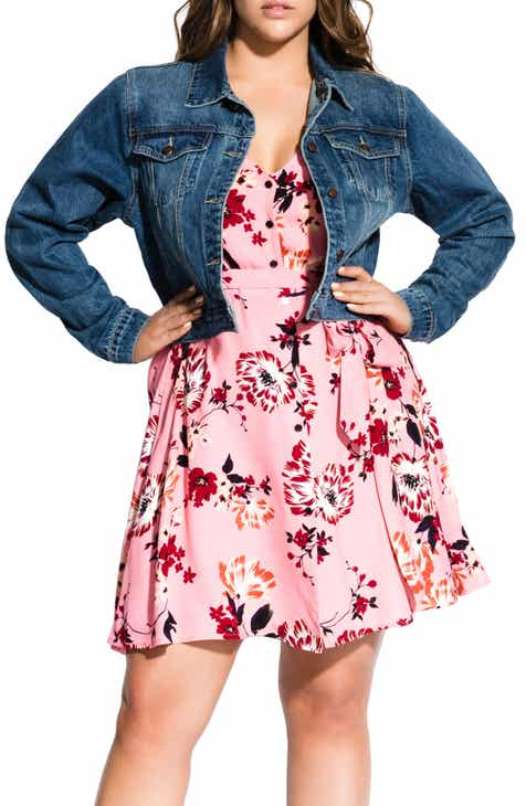 6050205642d City Chic Brocade Back Denim Jacket (Plus Size)