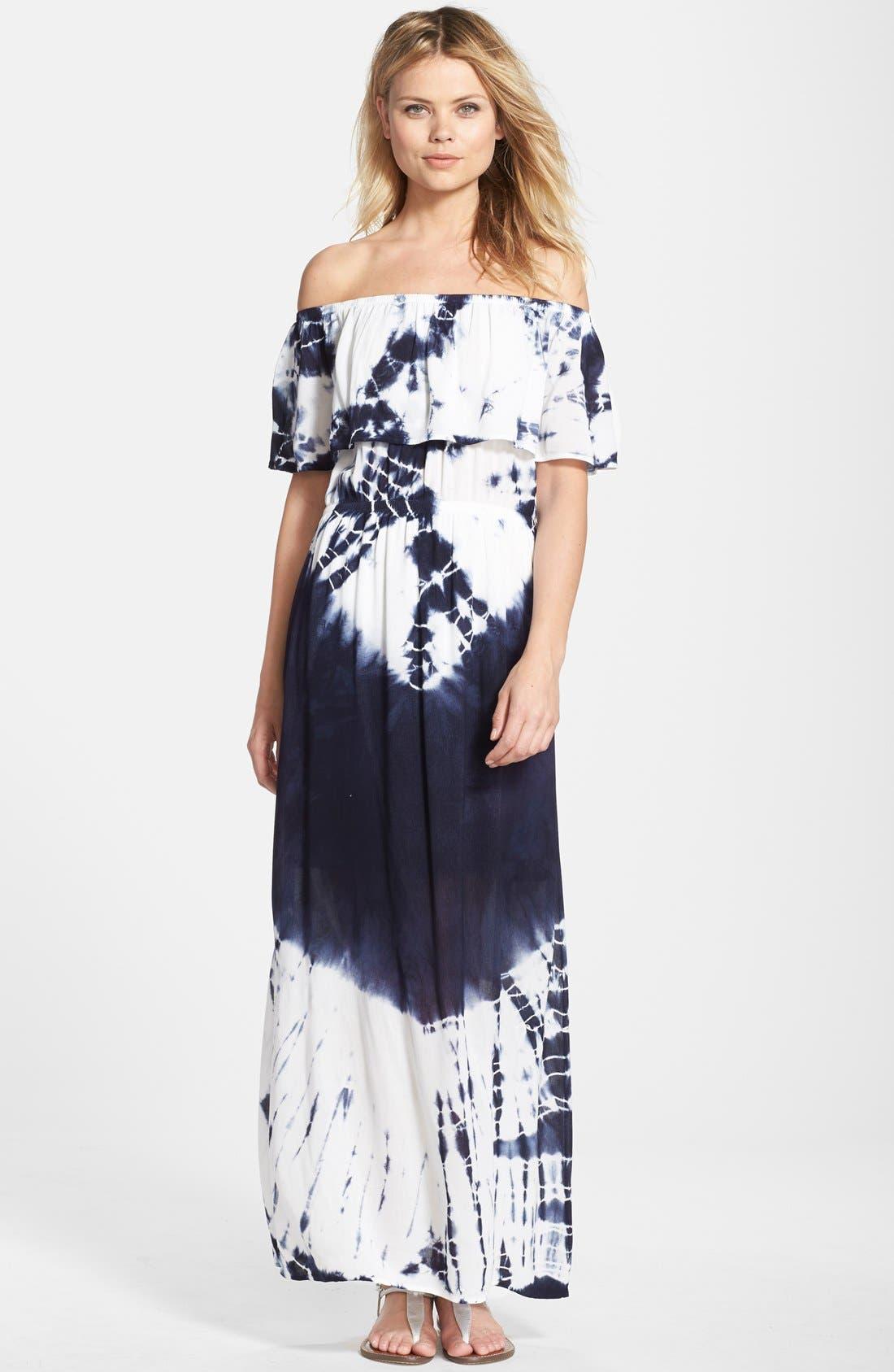 Tie Dye Off Shoulder Maxi Dress,                         Main,                         color, Indigo/ White