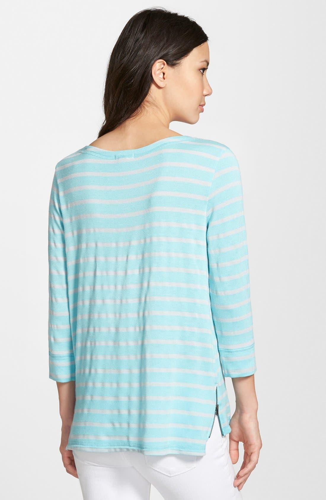 Alternate Image 2  - Caslon® Stripe Side Zip Top (Regular & Petite)