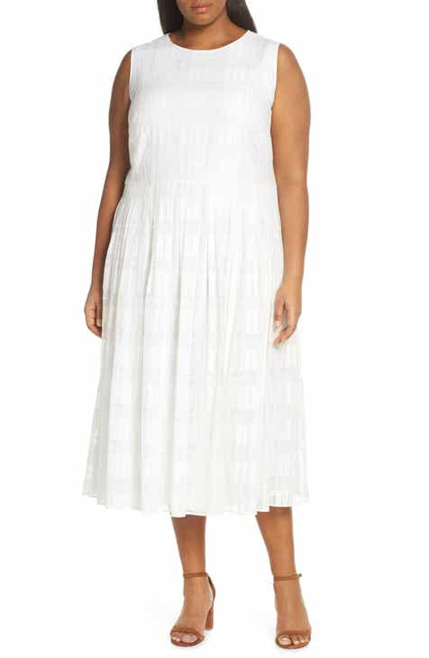 Lafayette 148 New York Avalynn Sleeveless Midi Dress (Plus Size) by LAFAYETTE 148