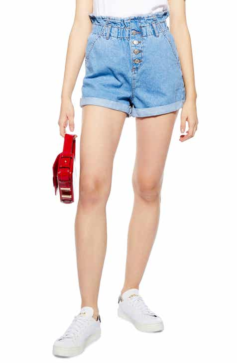 b4faf86f3702 Topshop Paperbag Waist Denim Shorts (Regular   Petite)