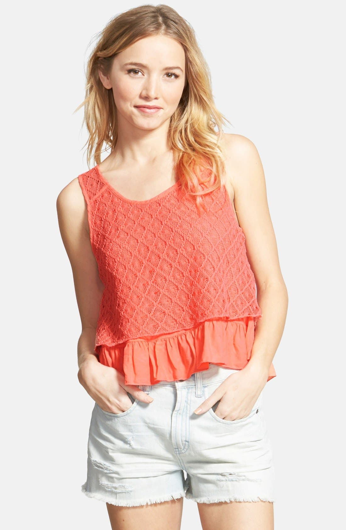 Alternate Image 1 Selected - Taylor & Sage Crochet Overlay Swing Tank (Juniors)