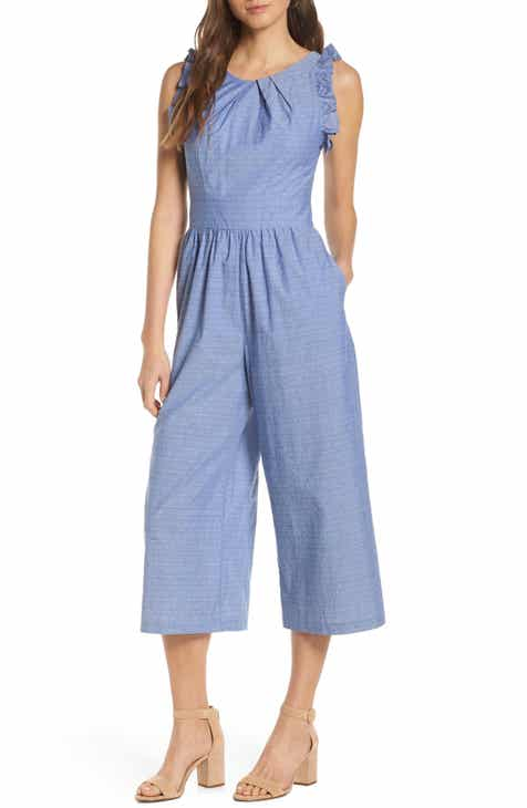 7bffdfb7078 1901 Pleat Neck Crop Cotton Jumpsuit