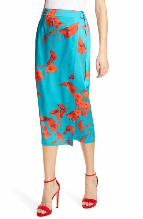 Gucci Watercolor Floral Print Pleated Silk Twill Midi Skirt by GUCCI