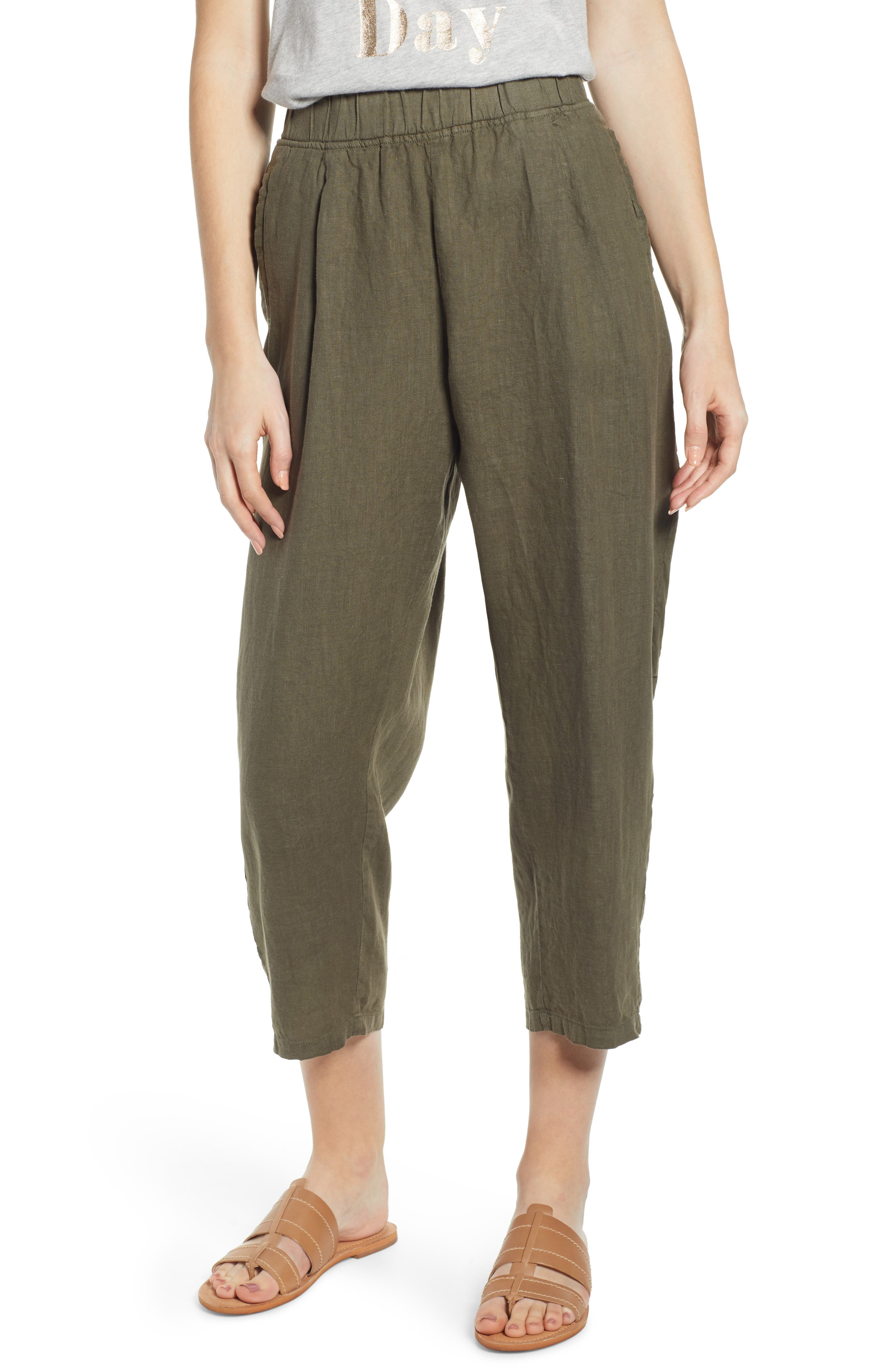 Nike Women's Cotton Blend Khaki Tan Athletic Cropped Pants Size S 4-6 Clothing, Shoes & Accessories Activewear Bottoms