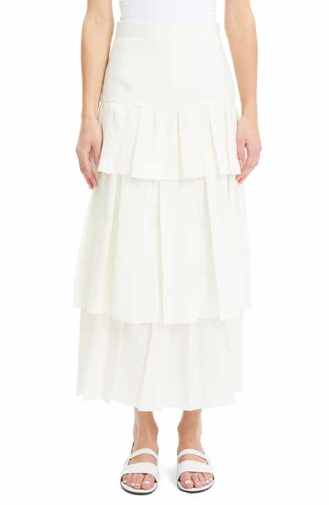 Whistles Flounce Hem Linen Midi Skirt by WHISTLES