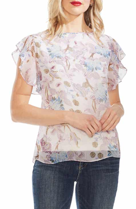 4099a6ec1fa90e Vince Camuto Poetic Blooms Flutter Sleeve Top