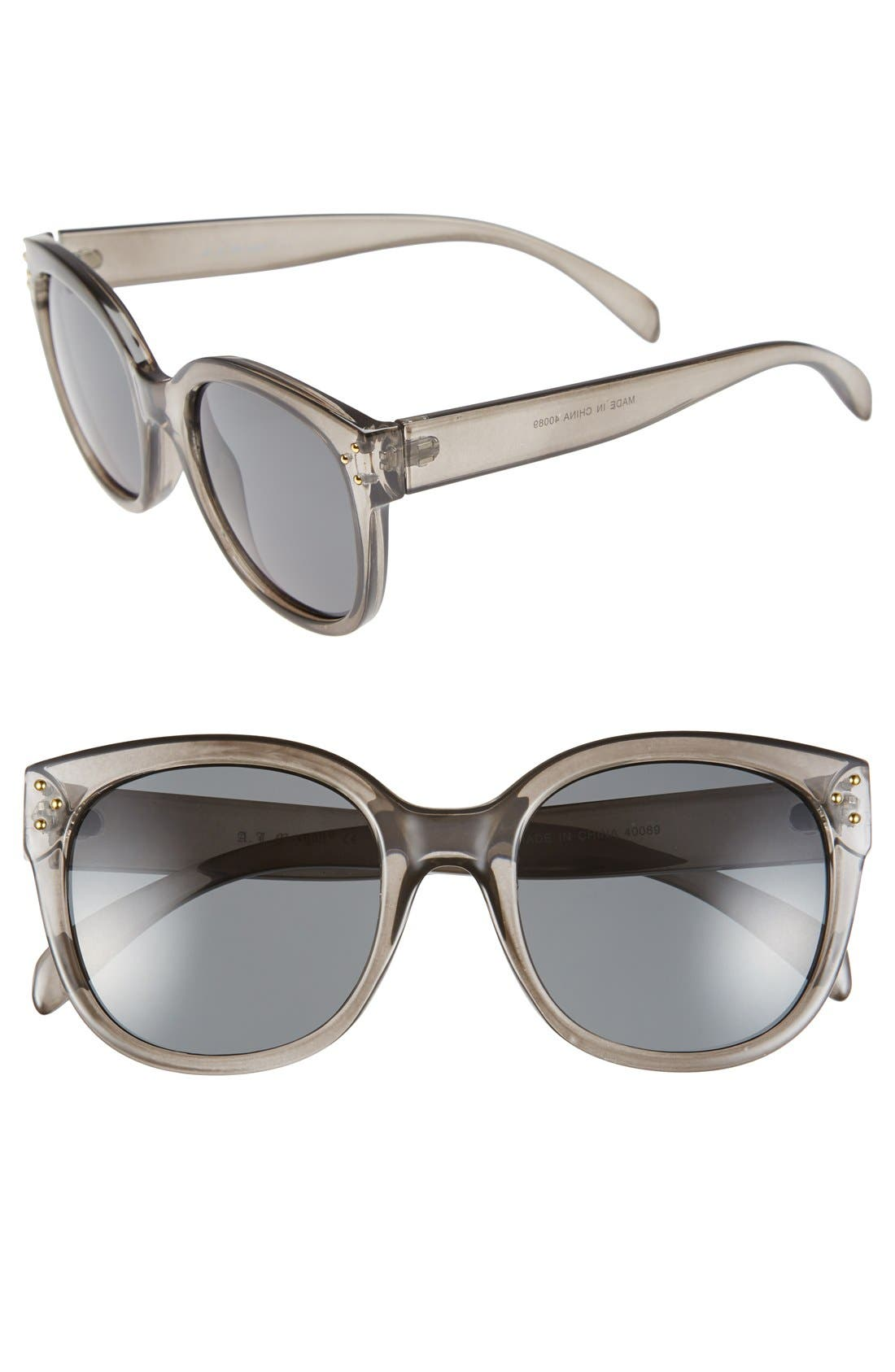 'Pristine' 55mm Oversized Sunglasses,                             Main thumbnail 1, color,                             Grey
