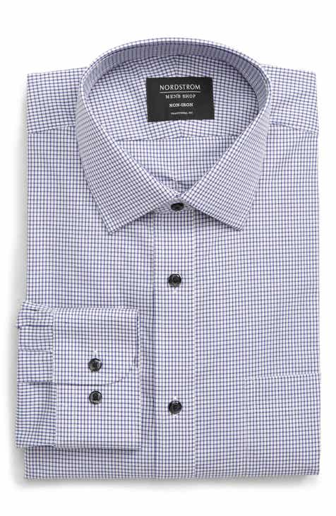 8ffcfba22db Nordstrom Men s Shop Traditional Fit Non-Iron Check Dress Shirt
