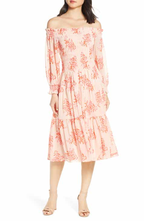 Eliza J Off the Shoulder Chiffon Midi Dress