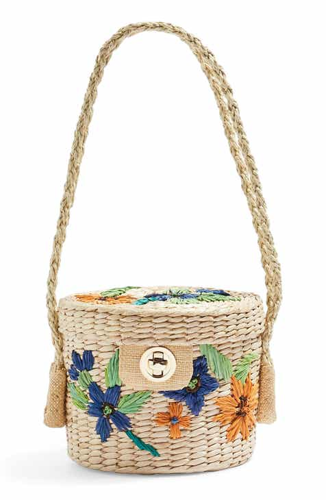 b00128ef4560 Topshop Fable Floral Straw Bucket Bag