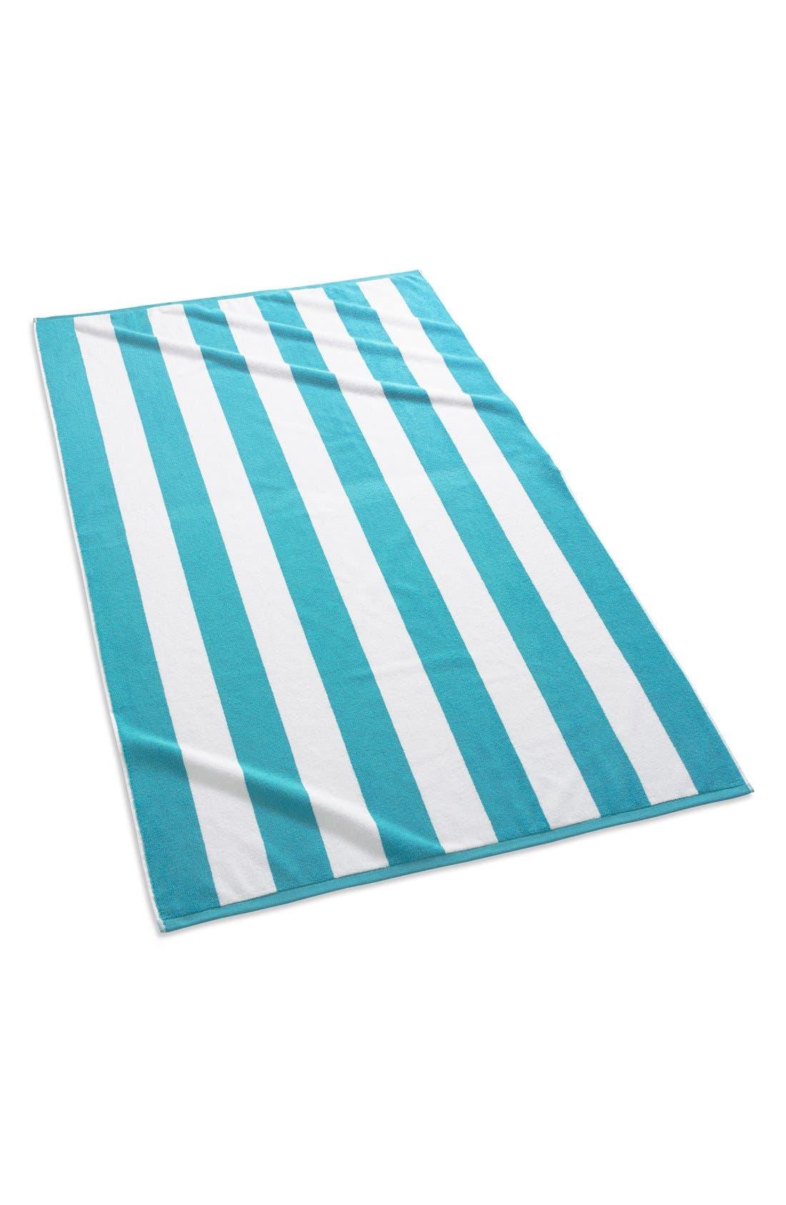 'Cabana' Stripe Beach Towel,                         Main,                         color, Aqua