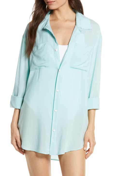 Something Navy Boyfriend Cover-Up Shirt (Nordstrom Exclusive) by SOMETHING NAVY