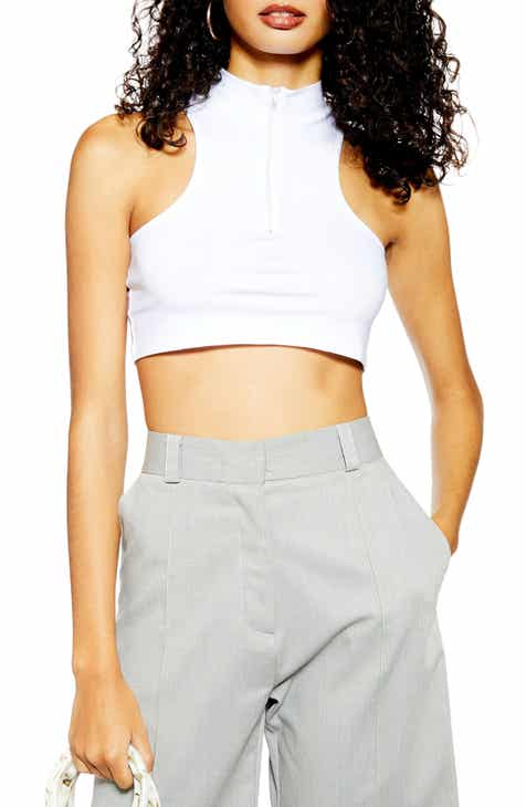 Topshop Zip Crop Top