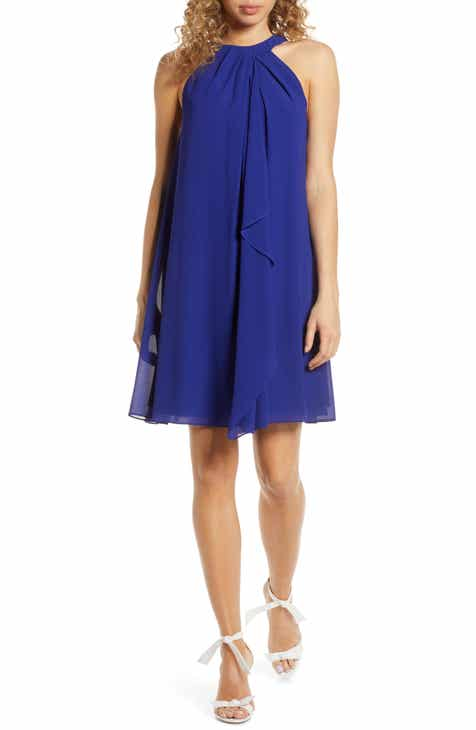 Mark + James by Badgley Mischka Drape Neck Halter Dress by MARK AND JAMES BADGLEY MISCHKA