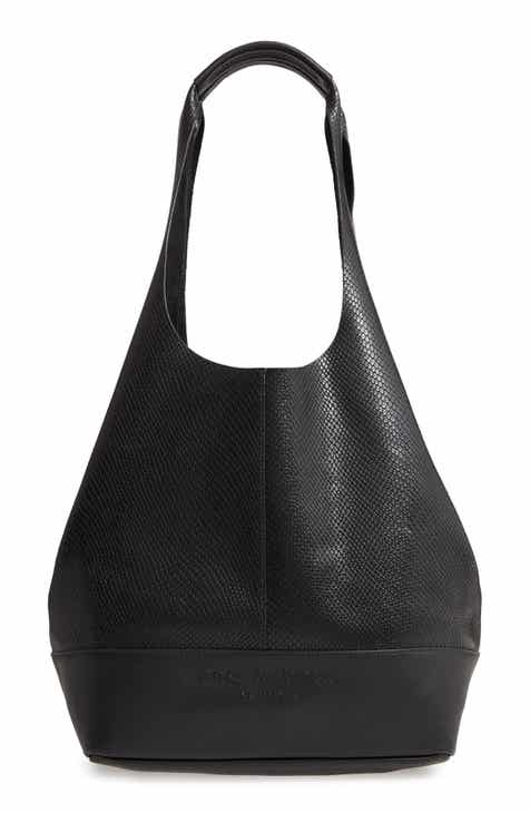 Snake Embossed Leather Shopper, Main, color, BLACK Camden Snake Embossed Leather Shopper