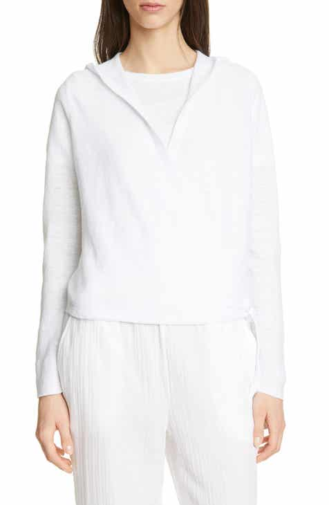 Eileen Fisher Organic Linen Knit Hooded Wrap Cardigan by EILEEN FISHER