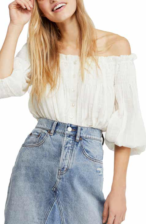 58a4bdde022ccd Free People Dancing till Dawn Off the Shoulder Crop Top