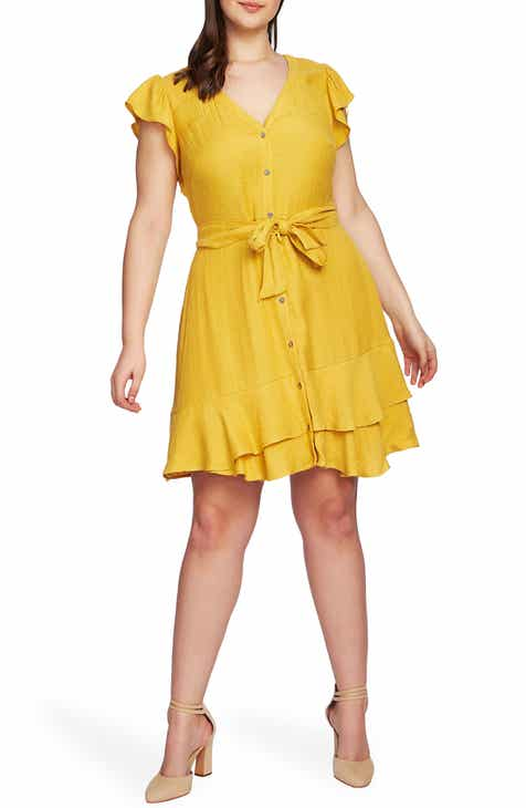 c55daad9e80 STATE Asymmetrical Ruffle Fit   Flare Dress (Plus Size)