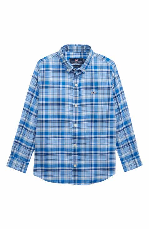9394262bb8330 vineyard vines Beach Tartan Plaid Whale Shirt (Big Boys)