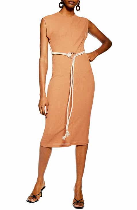 Topshop Rope Belt Midi Dress