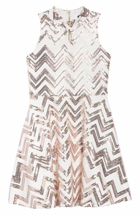 503a00e049f92 Ava   Yelly Zigzag Sequin Skater Dress (Big Girls)
