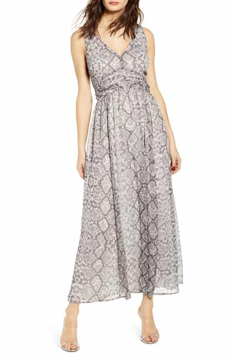 ef5f600af Leith Ruched Waist Chiffon Maxi Dress