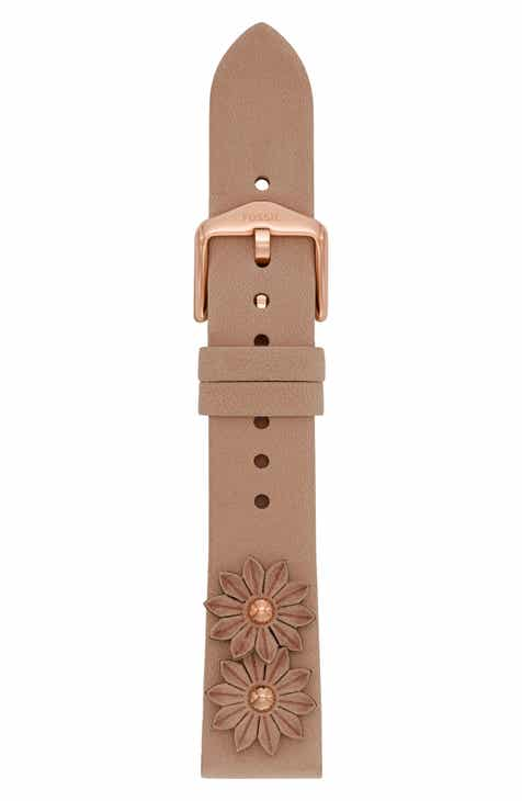 11194e50495e Fossil 18mm Leather Watch Strap
