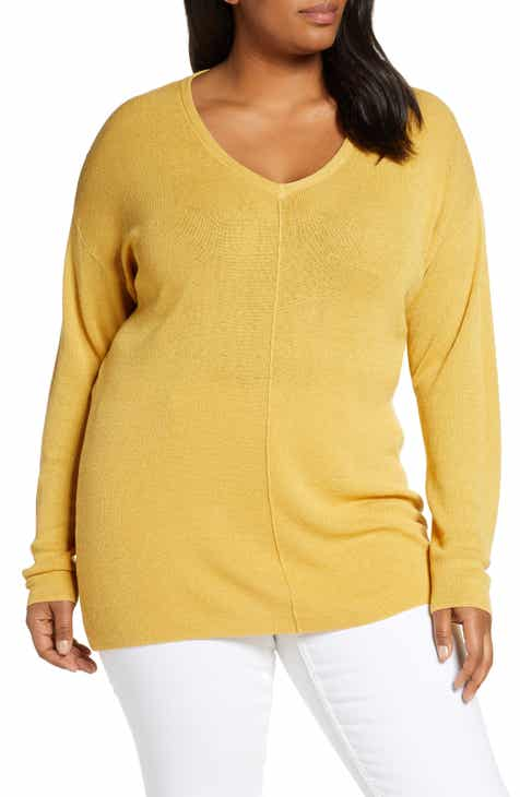 7e7c3faf Caslon® V-Neck Linen Blend Sweater (Plus Size)