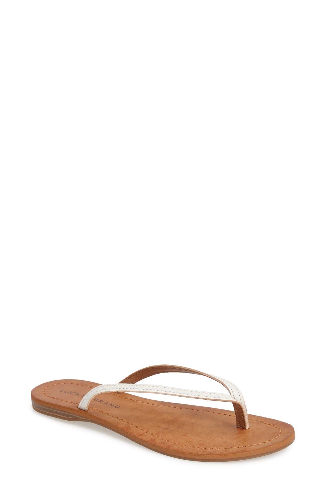 Alternate Image 1 Selected - Lucky Brand 'Amberr' Leather Thong Sandal (Women)