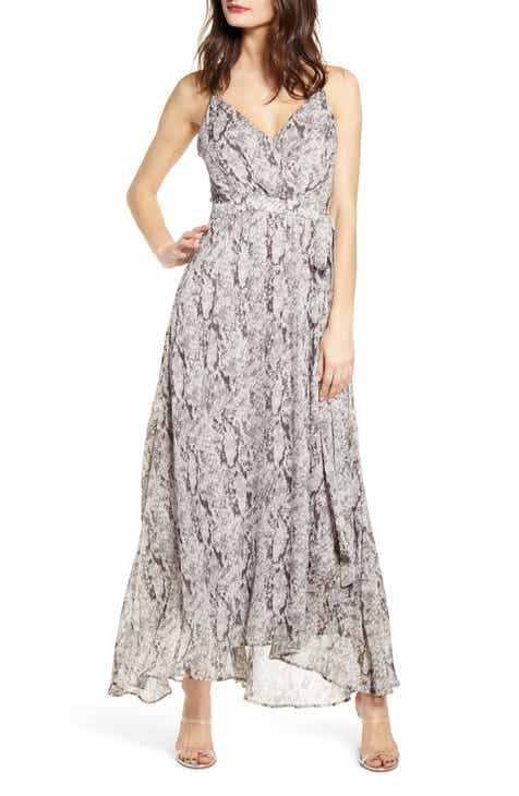308a844c93287 ASTR the Label Snake Print Sleeveless Maxi Dress