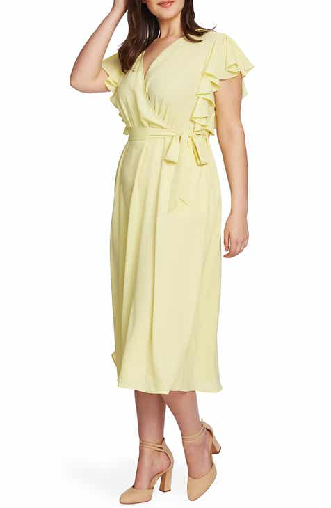 fc119bec0c0 STATE Flounce Sleeve Surplice Belted Midi Dress (Plus Size)