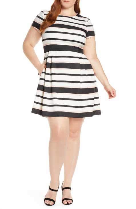 1901 Stripe Short Sleeve Fit & Flare Dress (Plus Size) by 1901