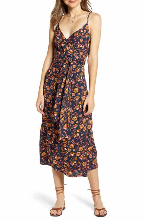 6939d15f0360 Hinge Floral Sleeveless Wrap Dress