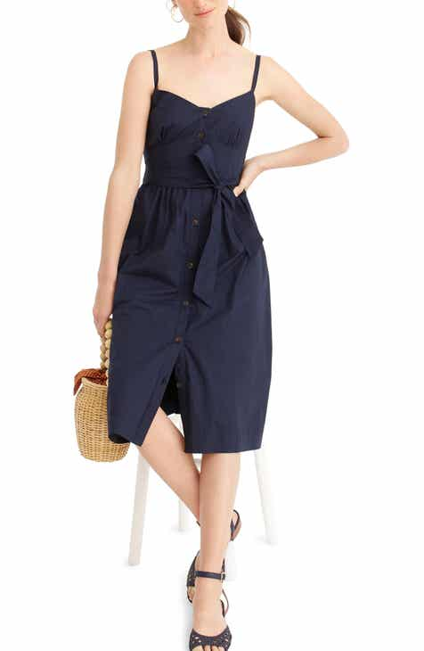 J.Crew Classic Button Front Cotton Poplin Sundress