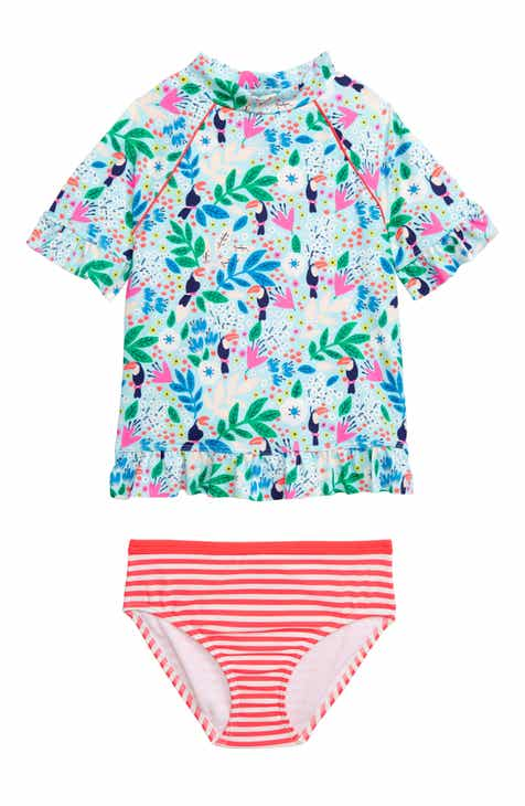 4e411073 Mini Boden Two-Piece Rashguard Swimsuit (Toddler Girls, Little Girls & Big  Girls)